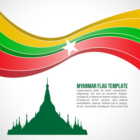 asean: Abstract Myanmar flag wave and Shwedagon Pagoda
