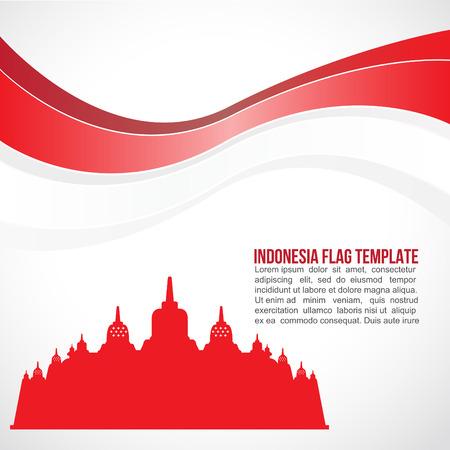 抽象的なインドネシアの旗の波とボロブドゥール寺院