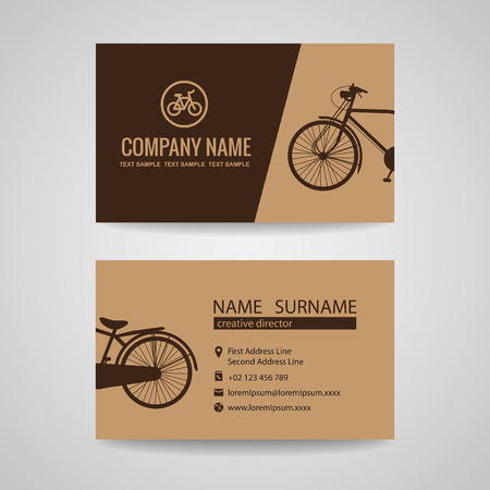 company name: business card for old vintage bicycle shop or about the Bike Illustration