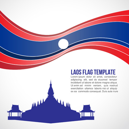 vientiane: Abstract Laos flag wave and Pha That Luang Vientiane