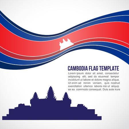 cambodian flag: Abstract Cambodia flag wave and Angkor Wat