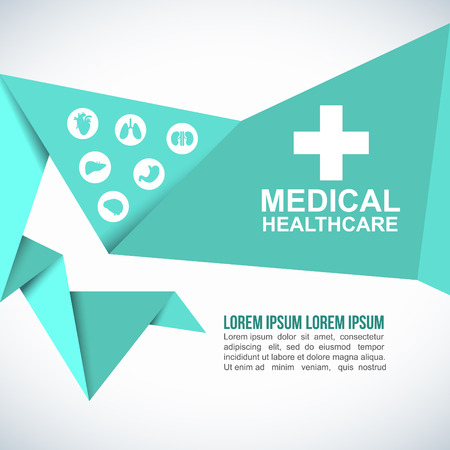 vector medical: Medical Health care Paper Origami Polygonal Shape vector background