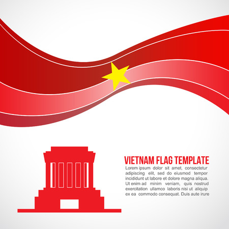 ho: Abstract Vietnam flag wave and Ho Chi Minh  Mausoleum Hanoi