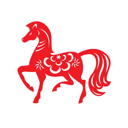 Red paper cut a horse zodiac symbols Vector