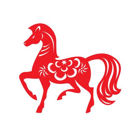 chinese horoscope: Red paper cut a horse zodiac symbols Illustration