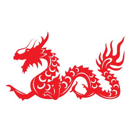 flores chinas: Papel rojo cortado un zodiaco del dragón de China símbolos