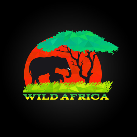 wild meadow: wild africa low poly is africa mother and baby elephant meadow and tree