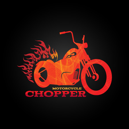 motorcycle: Red orange motorcycle chopper   is line blend art style