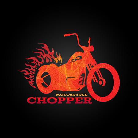 motor race: Rood oranje motorfiets chopper is lijn mix art stijl