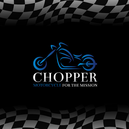 blue chopper motorcycle  symbol and Checkered flags background
