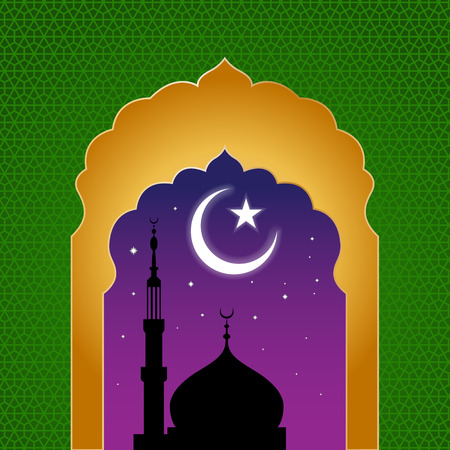 arch: ramadan kareem arab islamic window view at midnight Illustration