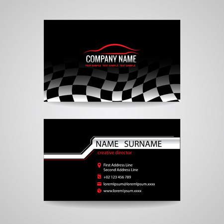 red sports car: business card for transportation car racing sport and Car wash