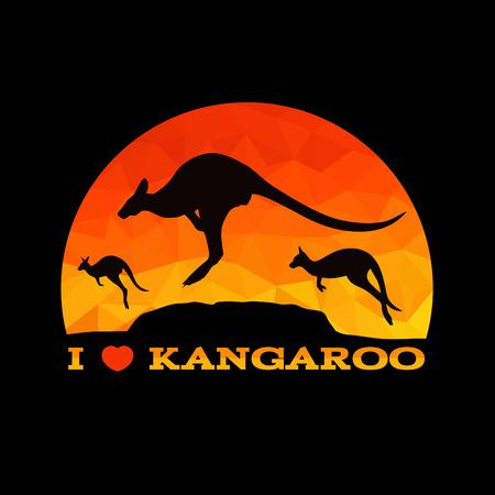 kangaroo white: I love Kangaroo low poly abstract vector
