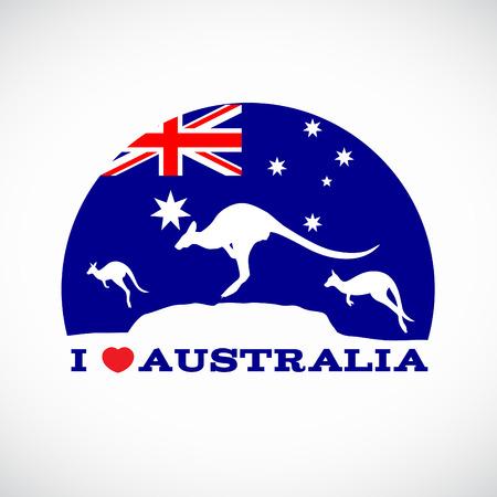 Kocham Australię i Kangur i Australia flag