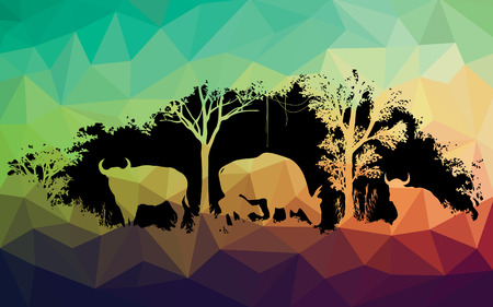 spanish bull: animal of wildlife is bull or gaur or wild ox low poly vector design Illustration