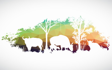 african art: animal of wildlife is bull or gaur or wild ox low poly vector design Illustration