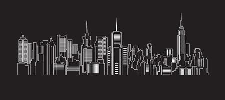 都市の景観建物ライン アート ベクトル イラスト デザイン  イラスト・ベクター素材