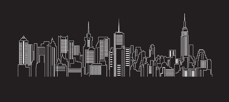 dessin noir et blanc: Paysage urbain B�timent Line art Vector Illustration de conception