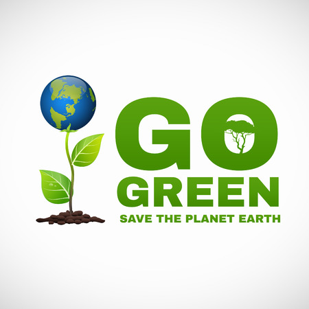 go green logo: Go green save the planet earth is world tree