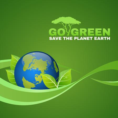 logo recyclage: Go Green sauver la planète terre est monde de la feuille et des vagues de ruban Illustration