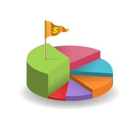 elevated: elevated pie chart and gold money flag