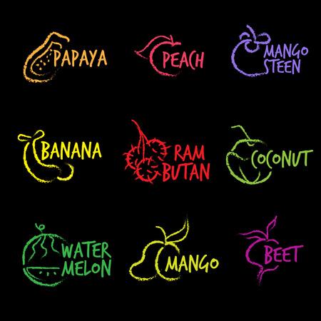 rambutan: Fruit Symbols  vector hand white line Illustration