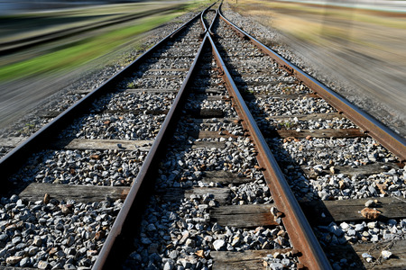 junction: The railway junction  and speed motion background Stock Photo