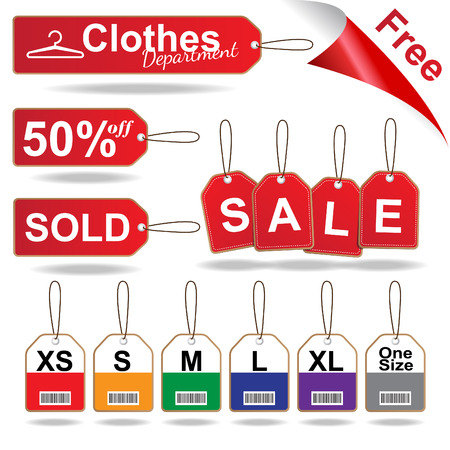 woven label: Red sale tags , size tag and stitched tag clothes set illustration