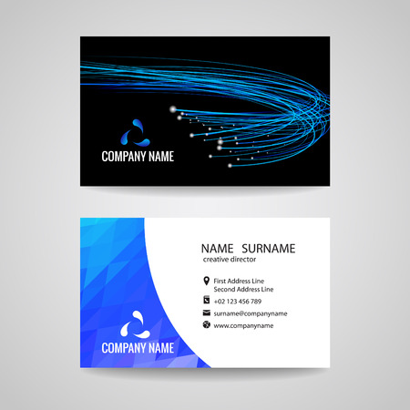 business abstract: Business card vector blue light line is about network Relationship and technology