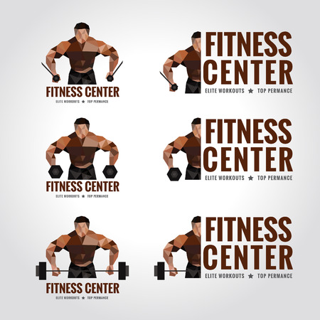 creative strength: Fitness center logo low poly Mens muscle strength and weight lifting Illustration