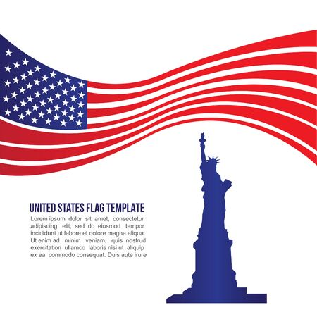 statue of liberty: USA united states flag wave and Statue of Liberty Illustration