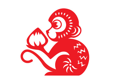 mono caricatura: Papel rojo cortado un melocotón zodiaco mono mono sosteniendo símbolos