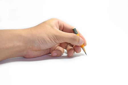 hand paper: Mans hand holding a pencil on isolate white background