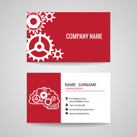 gear wheels: Business card gear idea for engineer and Mechanical