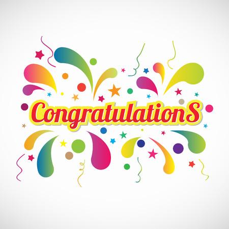felicidades: Red de texto Enhorabuena amarillas y fuegos artificiales vector resumen