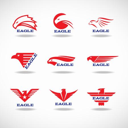 halcón: Diseño del logotipo de 9 de estilo Águila Roja vertor
