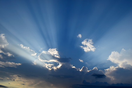 morning glory: Sunset dramatic blue sky clouds in evening Stock Photo