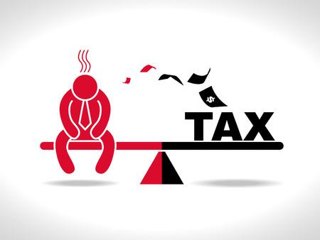 black business men: sad man and money tax on Seesaw magnet Illustration