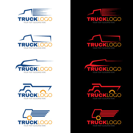 transport: 5 stijl blauwe rode en gele vrachtwagen vector design