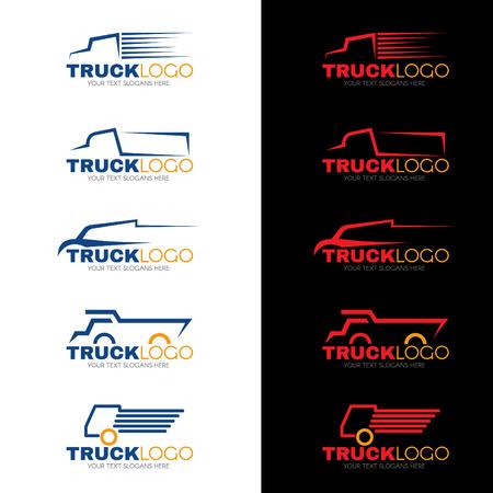 運輸: 5風格藍色紅色和黃色卡車矢量設計 向量圖像