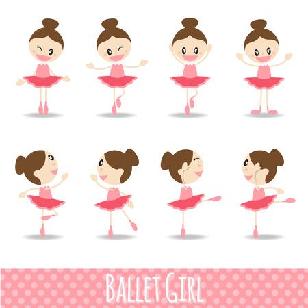 muneca vintage: 8 acciones rosada linda chica de dibujos animados de ballet de diseño vectorial