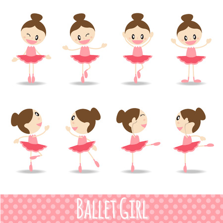 girl action: 8 action pink cute girl ballet cartoon vector design