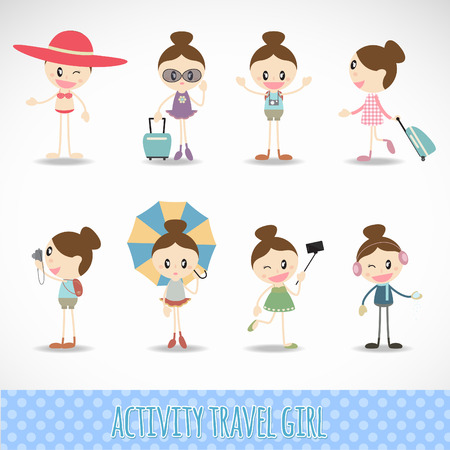 girl action: Action travel cute girl  activity set vector design
