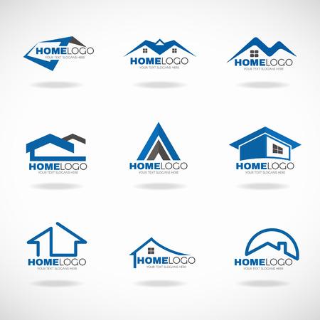 Blu e grigio set casa disegno vettoriale