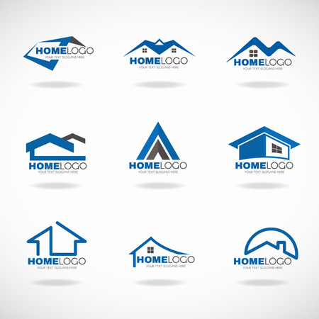 residential house: Blue and gray Home  set vector design