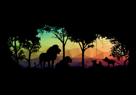 low poly: animal of wildlife Lion low poly shadow vector design