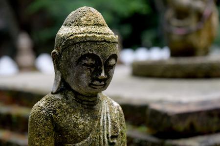 buddha face: Stone Buddha statue  with moss  close up