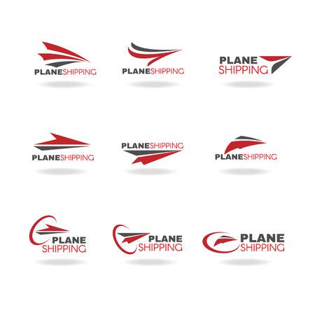 運輸: 飛機交通運輸和交付的標誌業務矢量