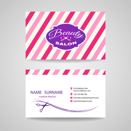 female animal: Business card beauty salon - pink tone vector design