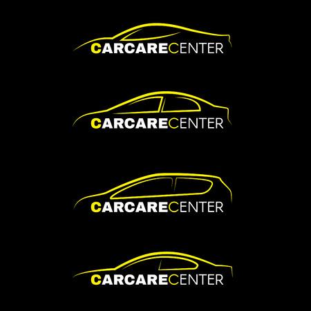 Yellow car wash center line logo 4 style on black background Illustration